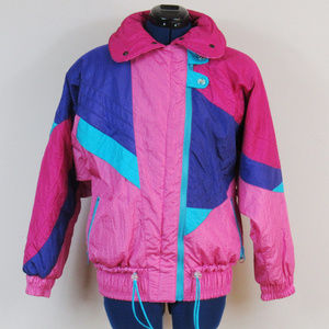 Vintage Ski Jacket Bright Pink Blue Size 6